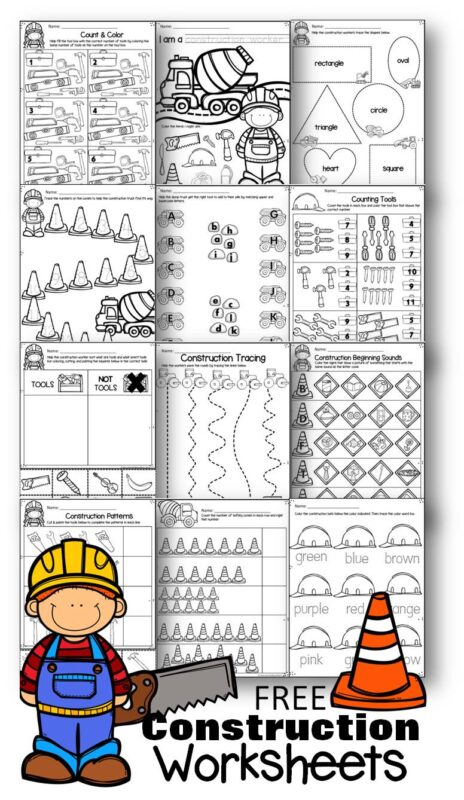 Free Construction Worksheets to help kids practice math and literacy skills with preschoolers and kindergartners
