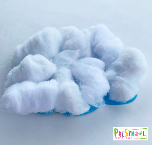 Glue cotton balls onto the construction paper to make a cloud