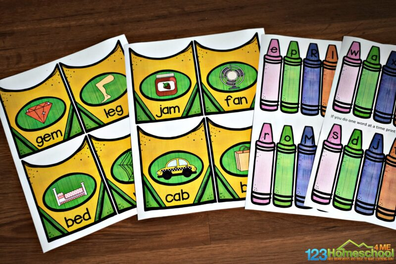 This super cute cvc words activity allows kids to practice spelling cvc words with crayons