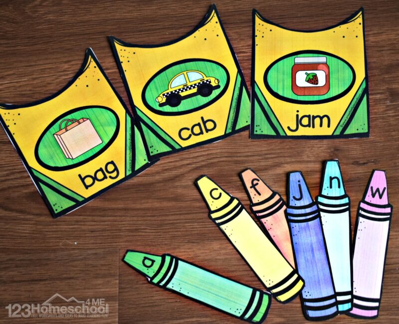 This fun free printable cvc words practice is perfect for prek and kindergarten age kids for back to school theme