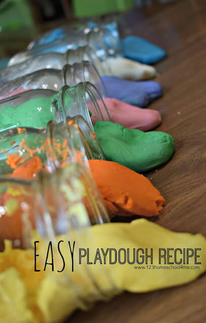 Easy Playdough Recipe - this super simple-to-make- homemade playdough uses only 2 ingredients to make a silky smooth moldable cloud dough that is loads of fun for little hands. Perfect kids activities for summer, rainy day, preschool, toddler, kindergarten, first grade, 2nd grade, and 3rd grade kids. #playdough #playdoughrecipe #preschool