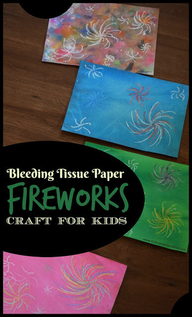 Simple, stunning firework craft that uses bleeding tissue paper to create gorgeous firework crafts! Perfect for 4th of July Crafts!