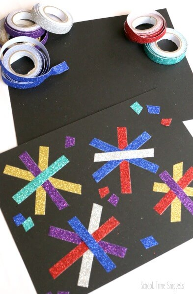 no mess tape fireworks art project for toddler, preschool fourth of july