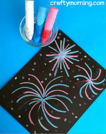 wet chalk fireworks art project