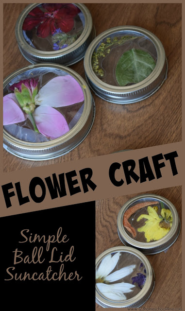 Simple Ball Lid Flower Craft for Kids - this is such a cute, simple, fun, and clever summer craft for kids. This summer art project is perfect for summer camp or art camp for toddler, preschool, kindergarten, first grade, 2nd grde, 3rd grade, 4th grade, 5th grade kids. It makes a great decoration for your table, as a suncatcher, as a gift, and more.  #flowercraft #craftsforkids #summerbucketlist