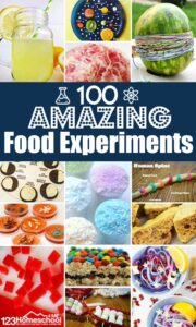 100 Amazing Food Experiments for Kids - so many clever edible science projects for kids of all ages to explore chemistry, biology, physics, and earth science! #scienceexperiment #scienceproject #kidsactivities