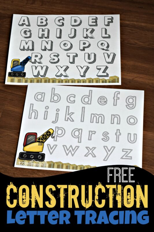 Kids will have fun practicing to trace both upper and lowercase letters with these NO PREP construction printables. These letter tracing worksheets have a fun construction theme to make practicing writing letters engageing. Use these letter tracing printables with preschool, pre-k, and kindergarten age studnets. Simply download pdf file withtracing alphabet worksheetsfor a fun construction activity for preschoolers.