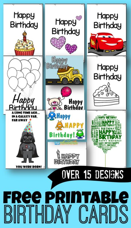 FREE Printable Birthday Cards - over 15 designs in color and black and white! Happy Birthday cards to for boys, girls, friends, classmates, grandparents, mom, dad, kids, and more! #birthdaycards #freeprintable #printablebirthdaycards