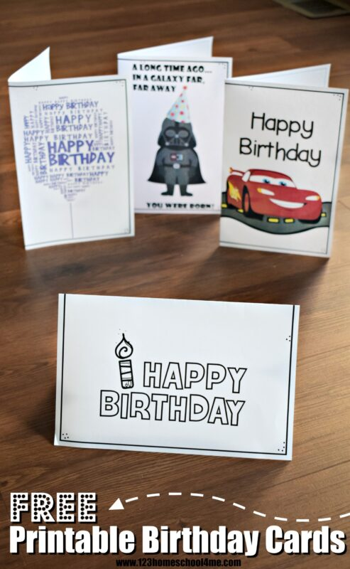 FREE Printable Birthday Cards - lots of cute happy birthday cards to print in color and black and white; simple, star wards, cars, and more for kids moms, dads, and more #freeprintable #birthdayprintables #birthdaycards