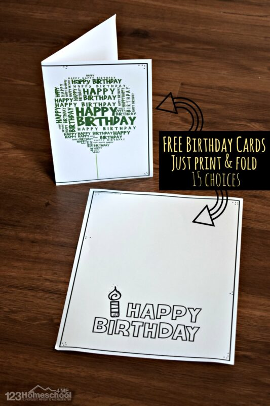 Over 15 choices of happy birthday card printables
