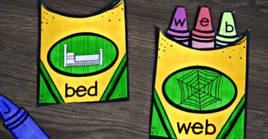 super cute kindergarten printables to help kids practice spelling cvc words