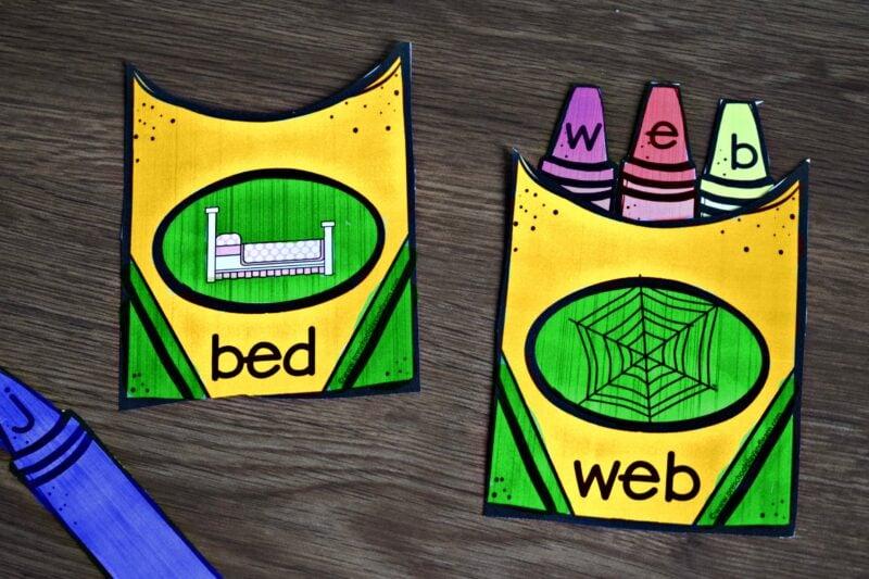 super cute kindergarten printables to help kids practice spelling cvc words