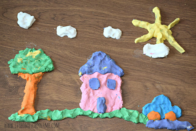 Create a beautiful scene with this playdough kids activities
