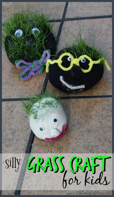 Silly Grass Craft for Kids - this is such a fun spring or summer craft for kids of all ages. So many possibilities and creative options!! A must add to summer bucket list #summerbucketlistforkids #craftsforkids #grassactivities
