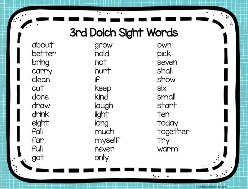 FREE printable 3rd grade sight words printable
