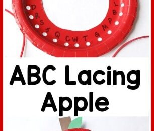 Have some apple themed learning fun with your preschool, pre k, kindergarten, or first grade child with this simple ABC Apple Lacing Craft.  This apple activity is great for fine motor skills and working on letter recognition!