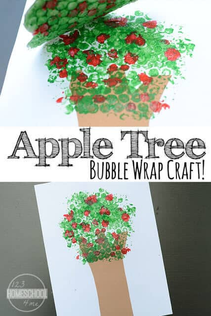 Your kids are going to flip when they see how fun this apple tree craft is to make! Celebrate apple month in September with this super cute apple craft for toddlers, preschoolers, pre k, kindergarteners, and first graders.  This bubble wrap crafts is sure to be a favorite with your children.