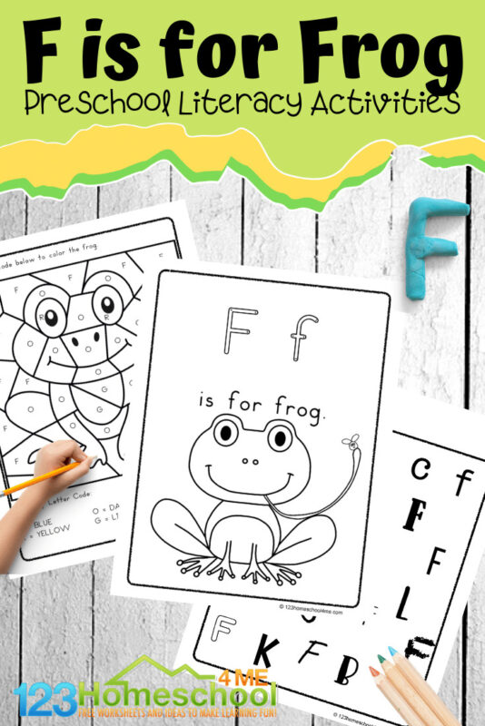 FREE F is for Frog worksheets for preschool, prek, and kindergarten age kids #letterf #preschool #frogs