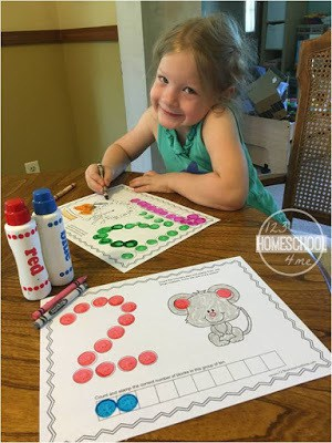 use Bingo Dauber markers with these free printable, Number Worksheets for preschoolers, kindergartners, and grade 1 math
