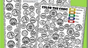 FREE Color the Coins - Money Worksheets for preschool, kindergarten and 1st grade. These NO PREP math worksheets are a great way for kids to practice identifying American money while strengthening fine motor skills. #coins #money #kindergarten