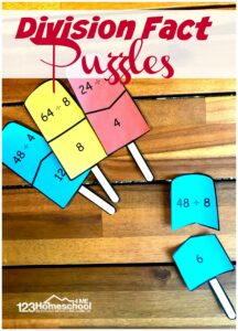 FREE Popsicle Division Puzzles - super cute math activity to help 3rd grade and 4th grade kids have fun practicing math with a summer themed activity #icecream #division #mathgames