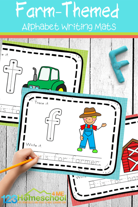 Have fun working on forming letters and tracing letters with these super cute, free printable,Farm Alphabet Tracing Mats. Whether you choose to use a dry erase marker for trace and erase activity, alphabet playdough mats, or something else entirely - these are the perfect addition to your farm theme for toddler, preschool, pre k, kindergarten, and first grade students.