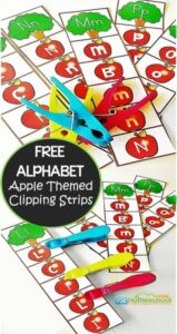 Low prep, apple themed alphabet identification strips are a fun literacy activity for September! Simply download the pdf file, print, and you are ready to help kids work on letter recognition with ah ands on activity for preschool, pre k, kindergarten, and 1st grade students.  In addition to practicing identifying uppercase and lowercase letters, children will be practicing their fine motor skills with these fun activity strips!