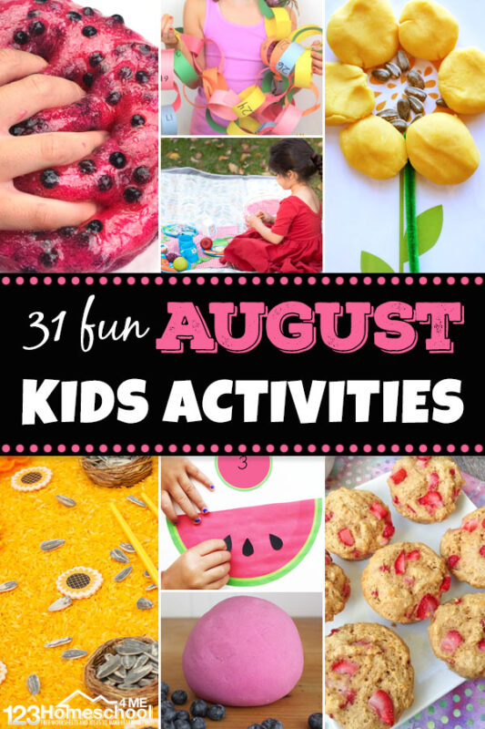 August activities for kids! We have a month's worth of funaugust activitiesfor preschool, pre-k, kindergarten, first grade, 2nd grade, 3rd grade, and toddlers too. From watermelon activities to sunflowe rprojects, bubbles, picnic ants, fresh berries, and even back to school activities - we've got you covered for a fun month!
