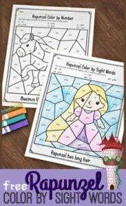 Rapunzel color by sight words printables