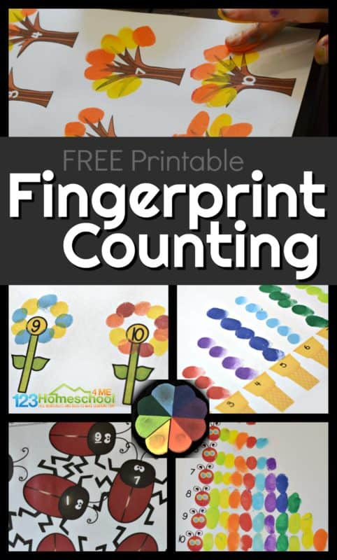 Make fun art projects while practicing counting to 10 with this fingerprint counting printables. This fun math activity for preschoolers, pre k, toddlers, and kindergarteners is a no prep, FREE printable counting activity for kids!