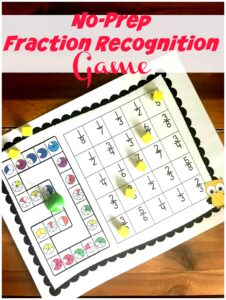 FREE No Prep Fractions Game - this free printable math game ia a fun way for kids to practice fraction recognition while having fun. Perfect for homeschoolers, 2nd grade, and 3rd grade students #fractions #mathgames #3rdgrade