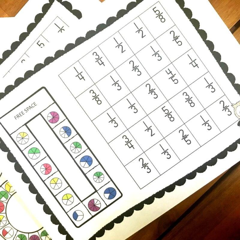 Super fun math games to teach fractions for kids