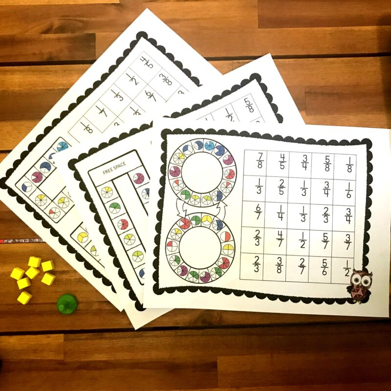 free printable fractions game for 2nd grade, 3rd grade, and 4th grade students