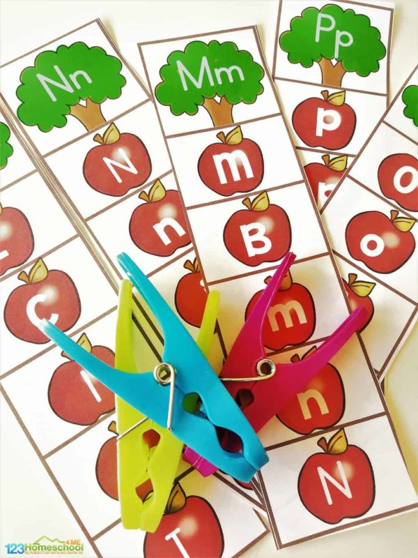 super cute fall themed, apple free printable alphabet strip