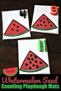FREE Watermelon Seed Counting Playdough Mats