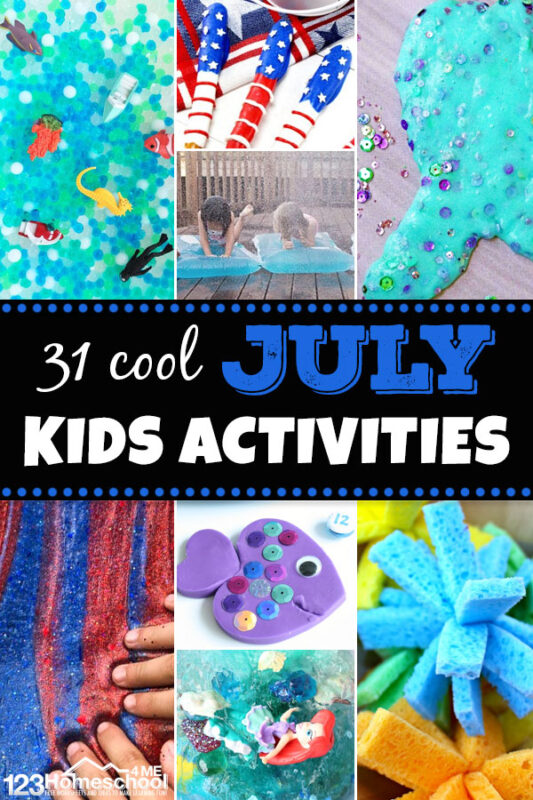31 July Kids Activities - so many fun, creative, and unique July activities for Kids of all ages perfect for fourth of july, mermaid, fish, and more #kidsactivities #fourthofjuly