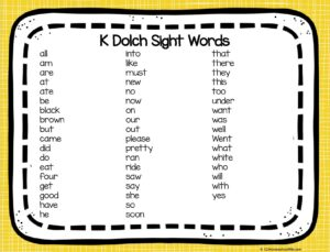 Free printable kindergarten sight words list