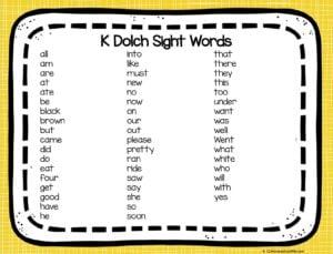 Kindergarten Sight Words List Printable