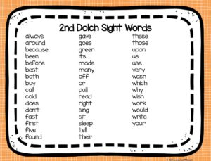 Help 2nd graders learn key dolch words with these free printable second grade sight words list