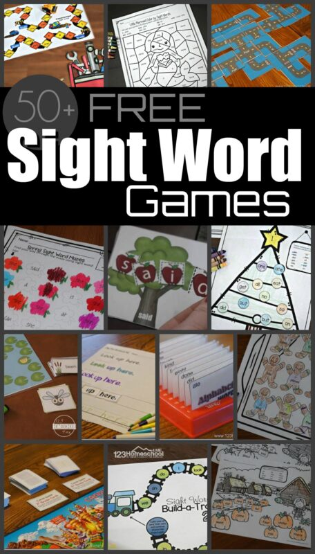 50 Fun, Creative, and FREE sight word games for pre k, kindergarten, first grade, 2nd grade, and 3rd grade kids. Includes worksheets, activities and games with Dolch words PLUS printable sight word lists by grade #sightwords #dolchwords #reading