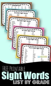 FREE Printable Sight Words List - handy list of dolch words by grade to learn pre k, kindergarten, first grade, 2nd grade, and 3rd grade words. Plus free games and worksheets to make learning these common words FUN! #sightwords #dolchwords #printable