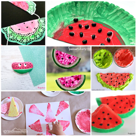 So many fun, creative and unique watermelon crafts for summer crafts for kids