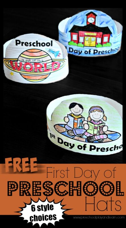 FREE Printable First Day of Preschool Hats