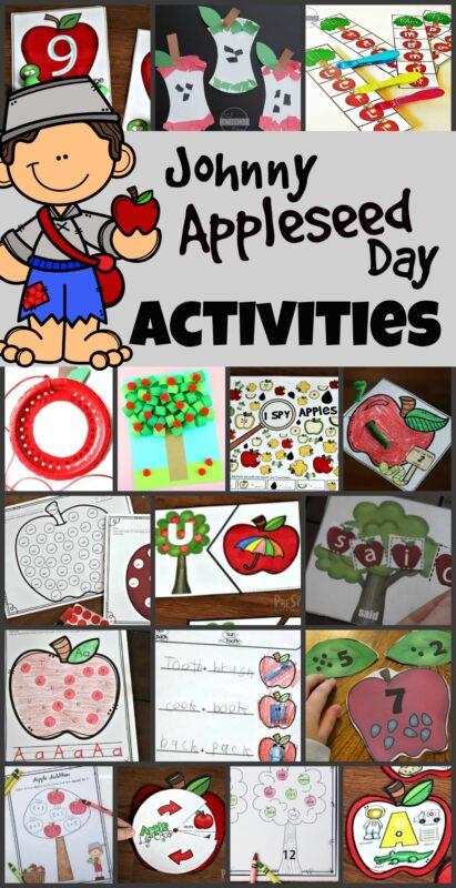 These funJohnnyAppleseed day activities help kids celebrate the historical figure that has turned into a tall tale. Use this fun September theme, apple theme, on Johnny Appleseed Day this Sept 26th. We have lots of fun educational activities for a week-long Johnny Appleseed Themefor preschool, pre k, kindergarten, first grade, 2nd grade, 3rd grade, 4th grade, and 5th grade students.