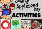These fun Johnny Appleseed day activities help kids celebrate the historical figure that has turned into a tall tale. Use this fun September theme, apple theme,  on Johnny Appleseed Day this Sept 26th. We have lots of fun educational activities for a week-long Johnny Appleseed Theme for preschool, pre k, kindergarten, first grade, 2nd grade, 3rd grade, 4th grade, and 5th grade students.