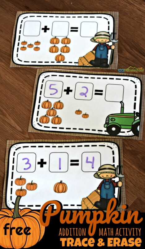 Kids will have fun practicing math in October and November with this fun, hands on Pumpkin addition printable. Simply download pdf file with pumpkin math kindergarten for hands on addition that will make practicing math fun for pre k, preschoolers, kindergartners, and first grade students.