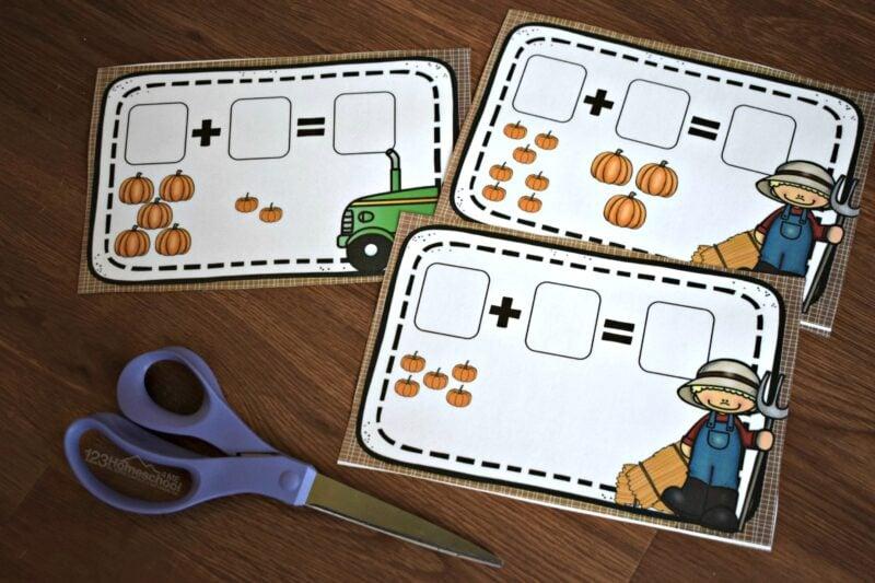 super cute pumpkin math activity for kindergarten and first grade students