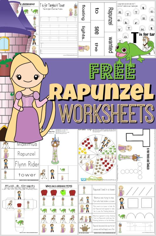 Kids will have fun practicing math and literacy skills with these super cute, free printable, Rapunzel Worksheets. Preschool, pre k, kindergarten, and first grade students will stay engaged as they explore a T is for Tangled letter of the week theme with these free Disney worksheets. Download pdf file to grab the printables to learn new vocabulary, alphabet trace, count, graph, pre-writing practice, build sentences, and so much more!