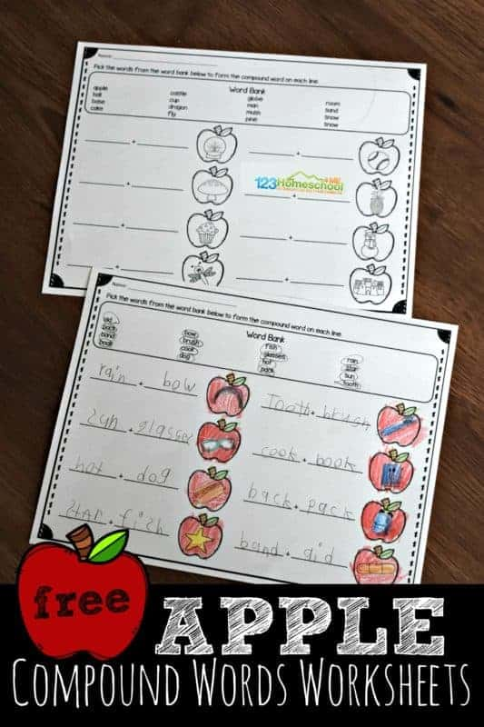 These super cute and free compound words worksheet have a fun apple theme. This is such a great compound words for kids activity for first grade and 2nd grade students. Simply download and print pdf file with free worksheets and have fun combining words to make compound words.