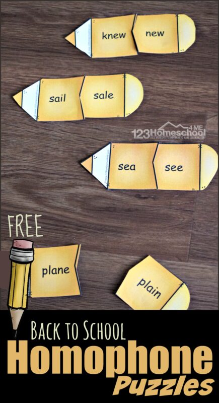 These homophone puzzles are such a fun, free printable activity to help first grade, 2nd grade, 3rd grade, and 4th grade students learn about homophones with a fun back to school themed activity.